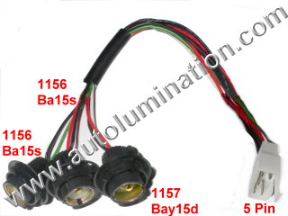 automotive connectors tail brake reverse turn signal backup rear automotbile wiring harness pigtail connector sockets