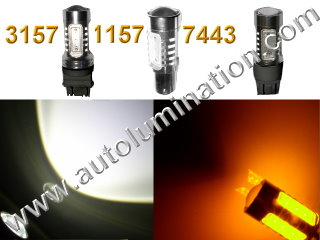 1157 3157 7443  Led Switchback  22 Watt led White Amber Turn Signal Bulbs