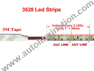 Cut Line for 3528 Strips Aluminum Channel Under Counter Led Light Strips