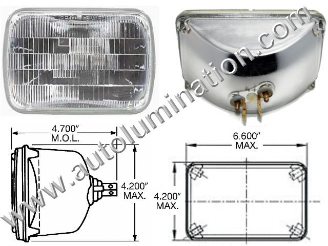 H4651 H4666 4651 4666 Halogen Sealed Beam Conversions Headlight