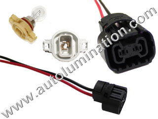 5202 H16 H16W 9009 PSX24W PSY24W 2504 5201 5301 5202 8L8Z13N021A Led DRL Fog Light Bulb Female Socket Pigtail Connector Wire
