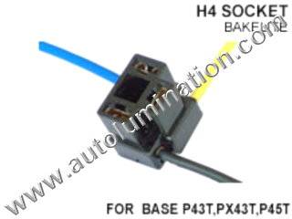 H4 9003 P43t Female Socket Pigtail Connector Wire