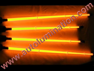 Car with Neon Underbody Light Tubes Orange