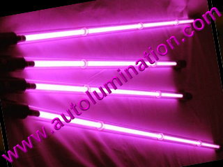Car with Neon Underbody Light Tubes Pink