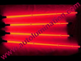 Car with Neon Underbody Light Tubes Red